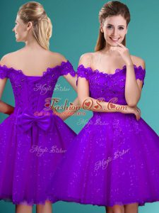 Eggplant Purple Cap Sleeves Lace and Belt Knee Length Dama Dress for Quinceanera