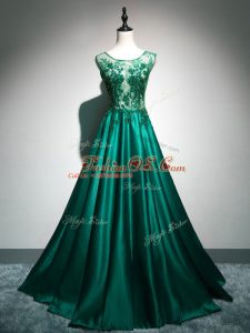 Customized Scoop Sleeveless Brush Train Backless Party Dresses Dark Green Elastic Woven Satin