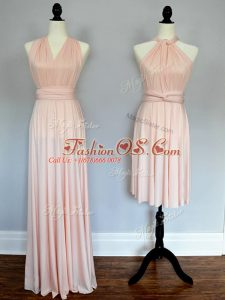 Floor Length Baby Pink and Peach Quinceanera Court of Honor Dress Halter Top Sleeveless Lace Up