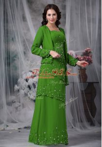 Straps Sleeveless Mother Of The Bride Dress Floor Length Beading Green Chiffon