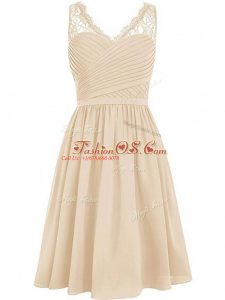 Fancy Sleeveless Chiffon Knee Length Side Zipper Wedding Party Dress in Champagne with Lace and Ruching