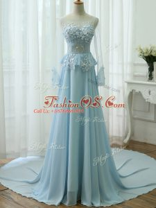 Light Blue Empire Chiffon Scoop Long Sleeves Beading and Appliques Zipper Prom Dress