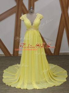 Yellow Short Sleeves Lace and Appliques Zipper Red Carpet Prom Dress