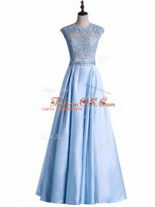 Light Blue Zipper Prom Evening Gown Beading and Lace Sleeveless Floor Length