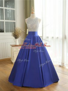 Sleeveless Floor Length Beading Backless Prom Dress with Blue