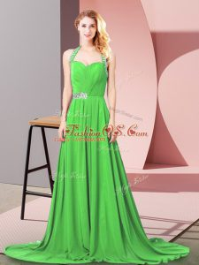 Custom Design Empire Chiffon Halter Top Sleeveless Beading and Ruching Zipper Party Dress Wholesale Brush Train