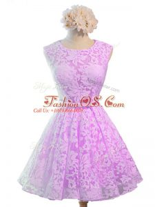 On Sale Belt Bridesmaids Dress Lilac Lace Up Sleeveless Knee Length