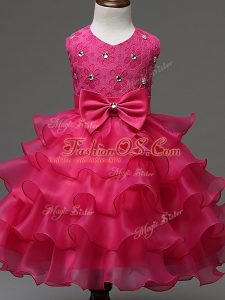 Custom Fit Hot Pink Organza Zipper Child Pageant Dress Sleeveless Knee Length Lace and Ruffled Layers and Bowknot