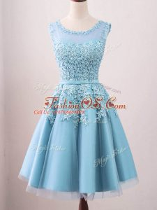 Graceful Aqua Blue A-line Lace Bridesmaids Dress Zipper Tulle Sleeveless Knee Length