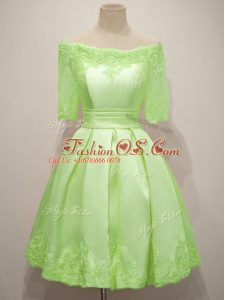 Taffeta Off The Shoulder Half Sleeves Lace Up Lace Bridesmaid Dresses in Yellow Green