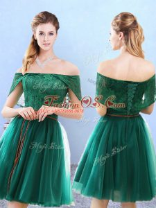 Attractive Olive Green Tulle Lace Up Court Dresses for Sweet 16 Cap Sleeves Knee Length Lace