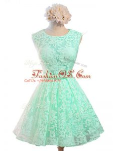 Colorful Apple Green Lace Up Scoop Belt Bridesmaid Gown Lace Sleeveless