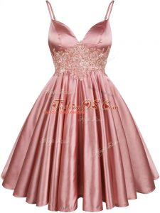 Fancy Sleeveless Elastic Woven Satin Knee Length Lace Up Quinceanera Court of Honor Dress in Pink with Lace