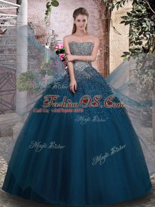 Classical Strapless Sleeveless Tulle 15th Birthday Dress Beading Lace Up