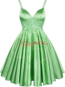 Green Lace Up Quinceanera Court of Honor Dress Lace Sleeveless Knee Length