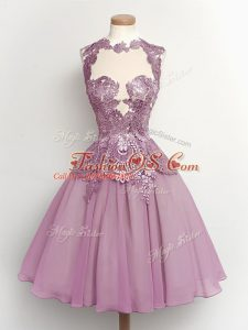 High-neck Sleeveless Lace Up Bridesmaid Gown Lilac Chiffon