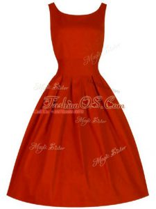 Modest Scoop Sleeveless Lace Up Bridesmaid Gown Red Taffeta