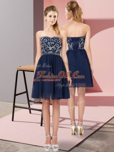 Navy Blue Chiffon Lace Up Sleeveless Mini Length Beading