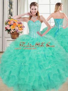 Turquoise Organza Lace Up Sweetheart Sleeveless Floor Length Ball Gown Prom Dress Beading and Ruffles