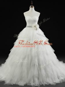 Beading and Ruffles and Hand Made Flower Wedding Dresses White Lace Up Sleeveless Brush Train