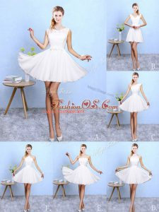 Lace and Appliques Dama Dress White Lace Up Sleeveless Knee Length