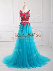 Tulle Scoop Sleeveless Brush Train Zipper Lace and Appliques Oscars Dresses in Aqua Blue