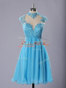 Excellent Baby Blue A-line High-neck Sleeveless Chiffon Knee Length Zipper Lace and Appliques Cocktail Dresses