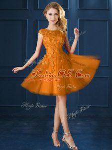Affordable Gold Cap Sleeves Tulle Lace Up Vestidos de Damas for Prom and Party