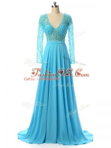 Baby Blue Mother Of The Bride Dress Prom and Sweet 16 with Beading V-neck Long Sleeves Brush Train Zipper