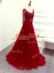 Captivating Wine Red Empire Scoop Long Sleeves Tulle Brush Train Zipper Beading and Lace and Belt Oscars Dresses