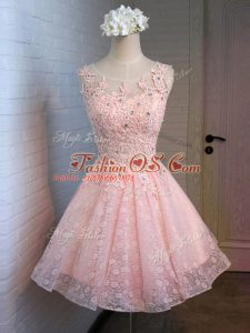 Stylish Lace and Appliques Prom Dresses Pink Lace Up Sleeveless Mini Length