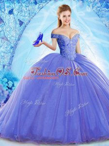 Free and Easy Off The Shoulder Sleeveless Brush Train Lace Up 15th Birthday Dress Blue Organza