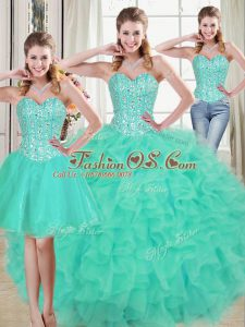 Admirable Sleeveless Beading and Ruffled Layers Lace Up Quinceanera Dress with Turquoise Brush Train