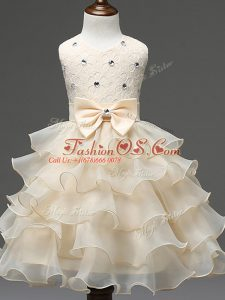 Latest Lace and Ruffled Layers and Bowknot Kids Pageant Dress Champagne Zipper Sleeveless Knee Length