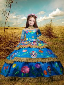 Ball Gowns Child Pageant Dress Blue High-neck Taffeta Long Sleeves Floor Length Lace Up