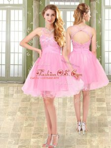 Pink Sleeveless Organza and Chiffon Side Zipper Military Ball Dresses for Prom and Party