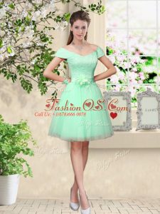 Enchanting Apple Green Lace Up Bridesmaid Gown Belt Cap Sleeves Knee Length