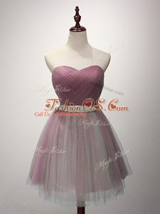 Pink A-line Beading and Ruching Bridesmaid Dresses Lace Up Tulle Sleeveless Mini Length