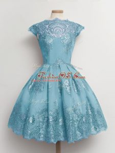Scalloped Cap Sleeves Lace Up Wedding Guest Dresses Aqua Blue Tulle
