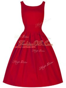 Red Sleeveless Ruching Knee Length Wedding Party Dress