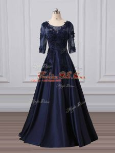 Scoop 3 4 Length Sleeve Brush Train Zipper Mother Of The Bride Dress Navy Blue Satin