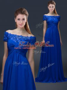 Elegant Floor Length Lace Up Mother Of The Bride Dress Blue for Prom and Party with Appliques