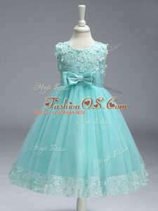 Lace and Bowknot Little Girls Pageant Gowns Apple Green Zipper Sleeveless Knee Length