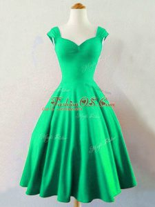 Dark Green Lace Up Straps Ruching Wedding Party Dress Taffeta Sleeveless