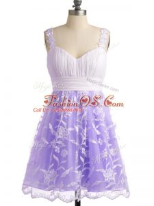 Empire Wedding Guest Dresses Lavender Straps Lace Sleeveless Knee Length Lace Up