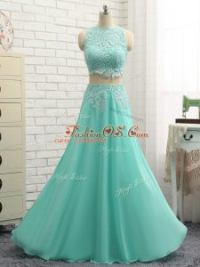 Mini Length Apple Green Homecoming Dress Chiffon Sleeveless Lace and Appliques