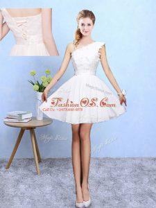 Vintage White Sleeveless Chiffon Lace Up Wedding Party Dress for Beach and Wedding Party