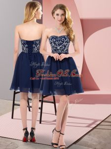 Classical Navy Blue Sweetheart Neckline Beading Casual Dresses Sleeveless Lace Up