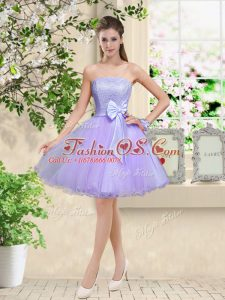 Cute Lilac Organza Lace Up Vestidos de Damas Sleeveless Knee Length Lace and Belt