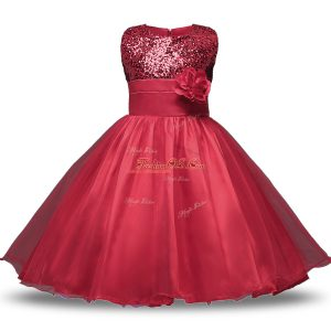 Dazzling Scoop Sleeveless Flower Girl Dresses Knee Length Bowknot and Belt and Hand Made Flower Wine Red Organza and Sequined